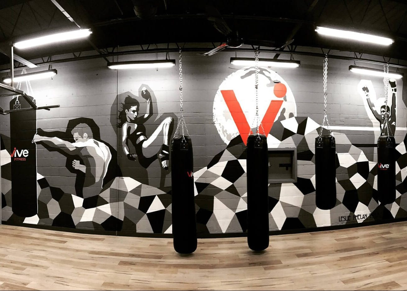 boxing gym art, sport mural, commercial art