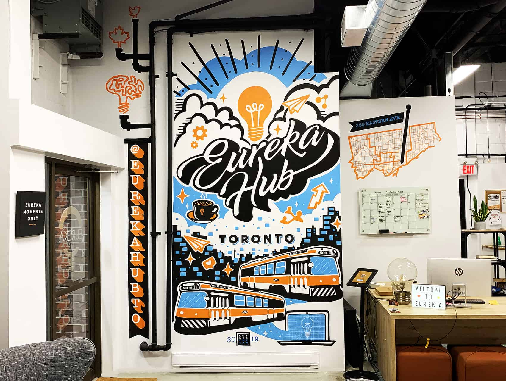 office mural, office art, coworking space, studio mural, eureka hub toronto