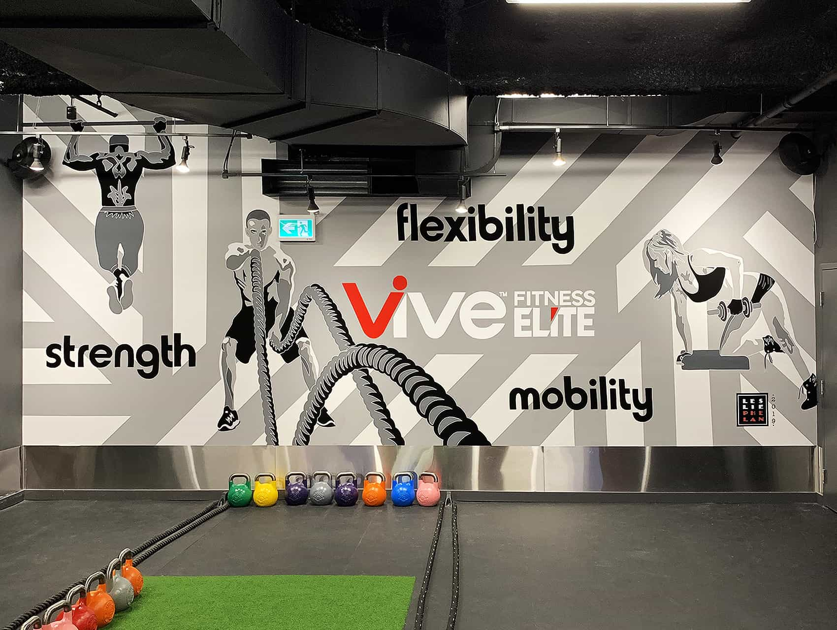 fitness gym mural art, crossfit studio mural, gym art, toronto mural