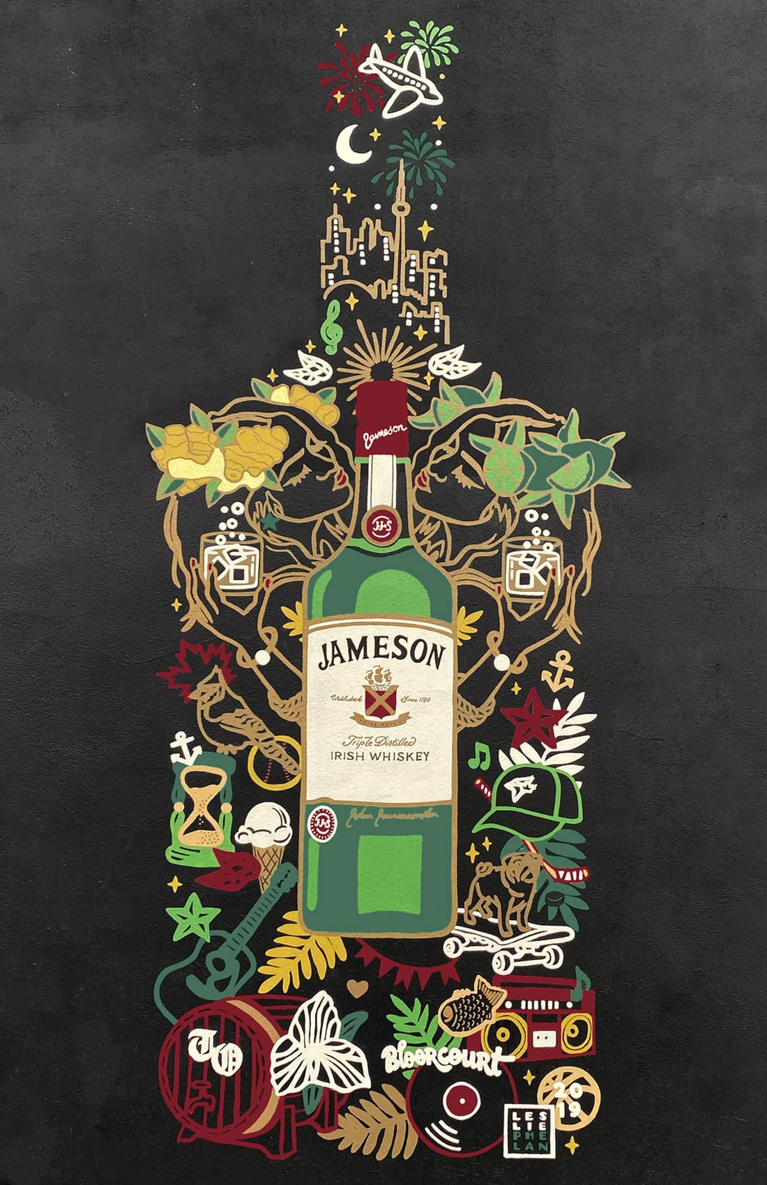 hand-painted jameson whiskey mural art toronto