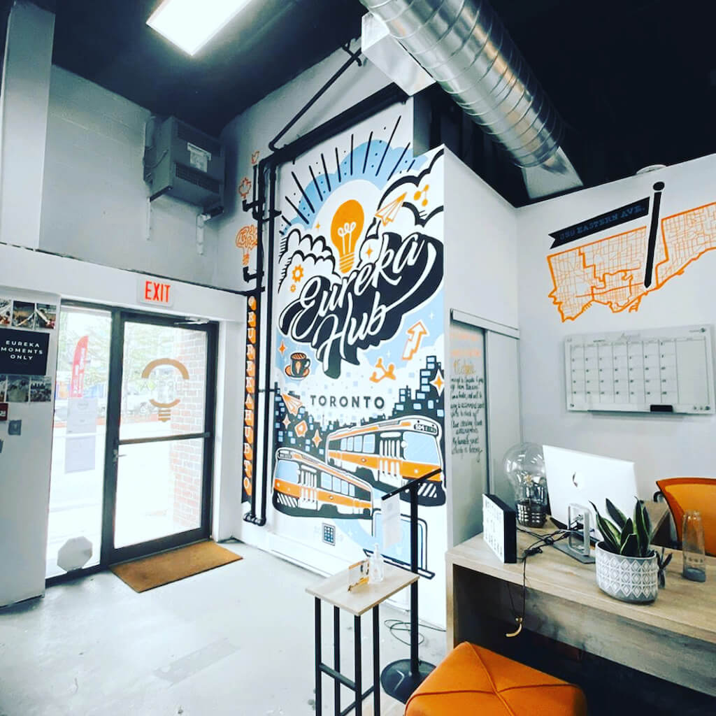 hand-painted office mural art