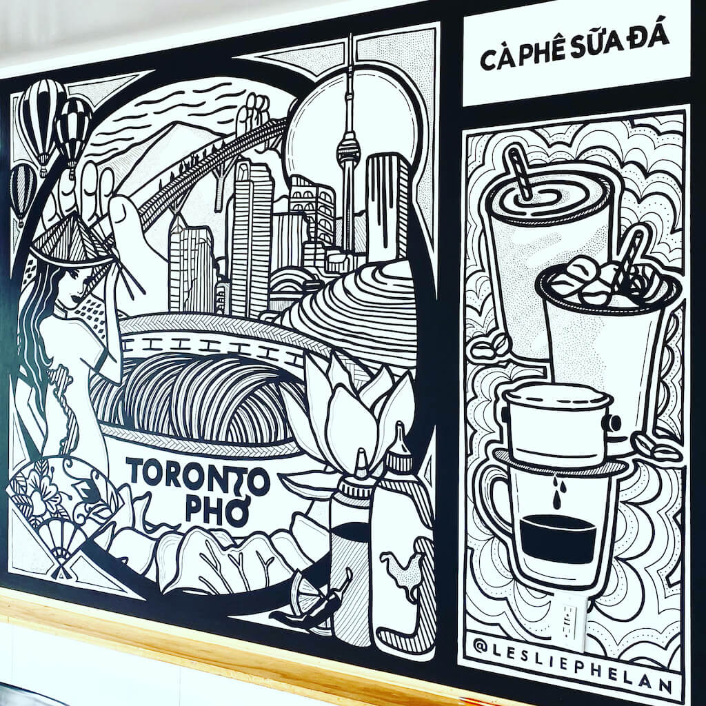 indoor restaurant mural art toronto